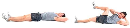 Фото выполнения упражнения для нижнего пресса - скручивание