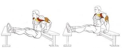 Упражнение на трицепс: отжимания в упоре сзади